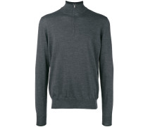 Melierter Pullover mit Reißverschlusskragen