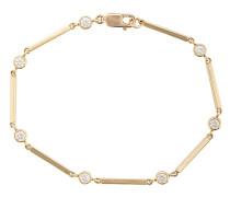 18kt yellow gold and diamond bezel bar link bracelet