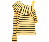 ruffled one-shoulder stripe top