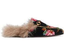 Princetown rose velvet slipper