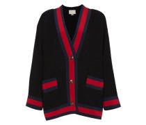 Tweed-Cardigan mit Besatzstreifen