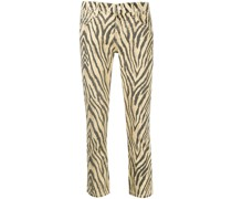 Cropped-Hose mit Zebra-Print