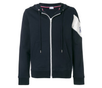 patch embellished zip-up hoodie