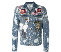 Acid-Wash-Jeansjacke mit Patches
