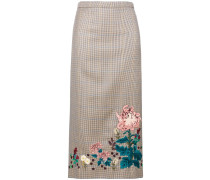 embroidered check skirt
