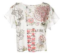 mesh detail printed blouse