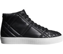 Check-quilted Leather High-top Sneakers