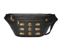 Leather belt bag with animal studs