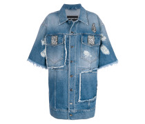 Verzierte Oversized-Jeansjacke