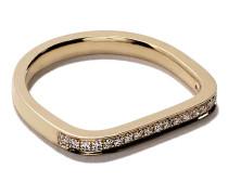 14kt 'Mini Charm Pinky' Gelbgoldring mit Diamanten