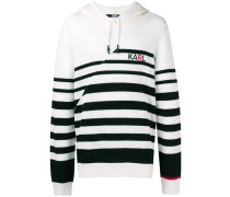 striped knitted logo hoodie