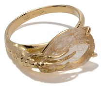 18kt 'Claw' Goldring mit Quarz