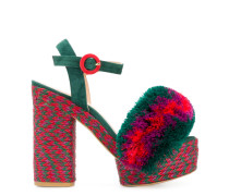 fur detail platform sandals