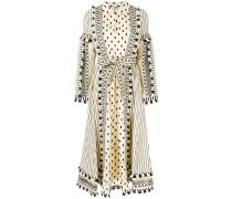multi pattern flared shirt dress