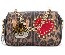 patched leopard print clutch