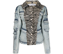 zebra print denim jacket