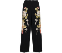 Floral Embroidered Flared Trousers