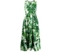 leaf print cotton dress