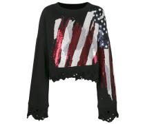 distressed flag embellished sweatshirt