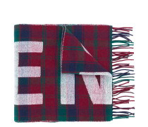 Karierter Wollschal mit Logo