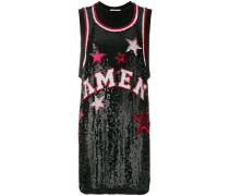 logo and star sequinned tank top