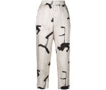 printed elastic waist trousers