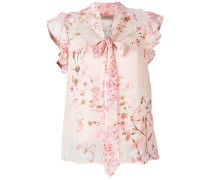 floral print pussybow blouse