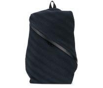 pleated diagonal zip backpack