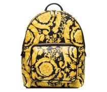 yellow Vitello Stampato Baroque print backpack
