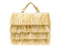 Bast-Handtasche mit Fransen