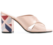 pattern block heel sandals