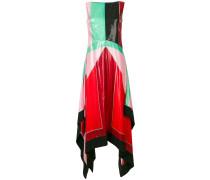 Langes Seidenkleid in Colour-Block-Optik