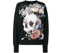 Sweatshirt mit floralem Totenkopf-Print