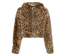 Faux leopard jacket with hood ears