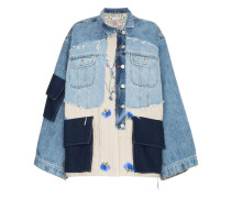 oversized patchwork quilted cotton denim jacket