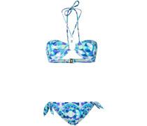 Bandeau-Bikini mit Print