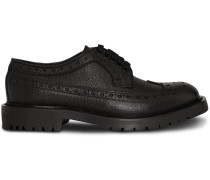 Brogue Detail Grainy Leather Derby Shoes
