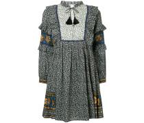Maya border print ruffle sleeve dress