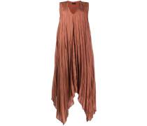 Plissiertes Kleid mit zipfeligem Saum