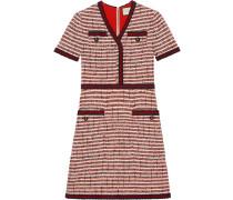 Gestreiftes Tweed-Kleid mit V-Ausschnitt
