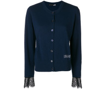 lace-hem fitted cardigan