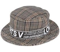 plaid logo flat fedora hat