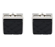 Check-engraved Square Cufflinks