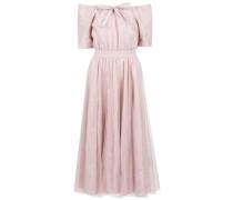 Schulterfreies Kleid mit Gürtel