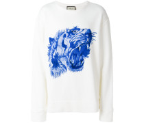 embroidered tiger print sweatshirt