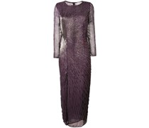 bead embroidered slit front dress