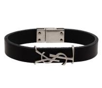 logo-plaque buckled bracelet
