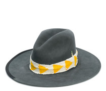 wide brim yellow and gold ribbon hat