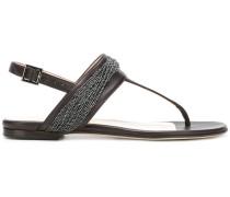 bead embellished T-bar sandals