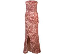 Trägerloses Kleid mit Leopardenmuster